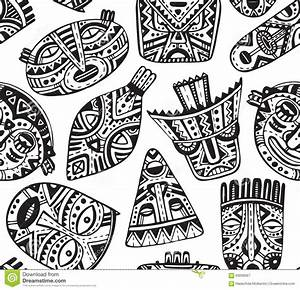 Seamless Vector Pattern With Hand Drawn Fancy Masks In ...