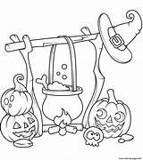 Coloring Pages Cauldron Halloween Printable Jack Lanterns Boiling Popular sketch template