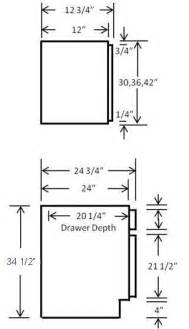 Standard Kitchen Cabinet Drawer Depth by Dimension Na