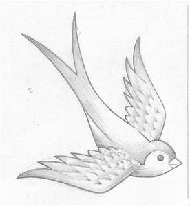 Drawn swallow simple - Pencil and in color drawn swallow ...