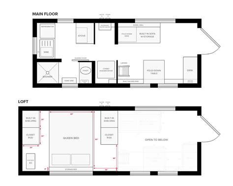 tiny house  wheels floor plans blueprint  construction