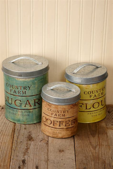 kitchen decorative canisters vintage galvanized canister set of 3