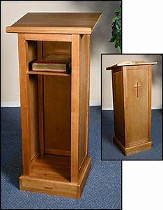 Full Lectern Pulpit w/ Shelf - Maple Wood - Pecan Stain
