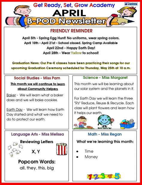 preschool april newsletter delray day care facility monthly newsletter 477
