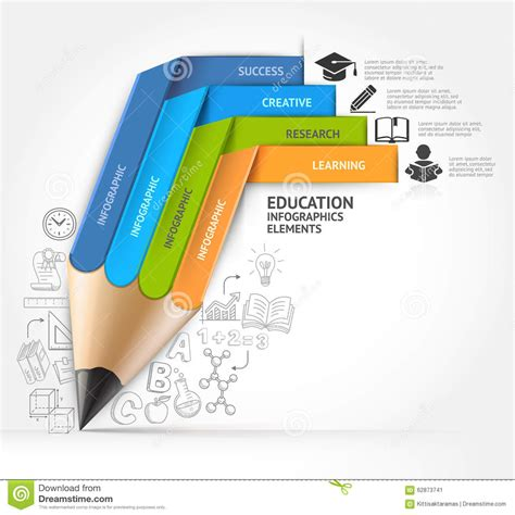 education pencil staircase infographics option stock