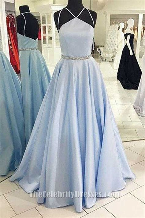full length light sky blue   prom dress evening formal gown thecelebritydresses