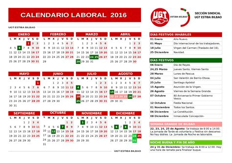 calendario laboral de la estiba del puerto de bilbao en