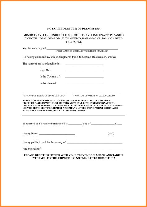 notarized letter template  child travel collection