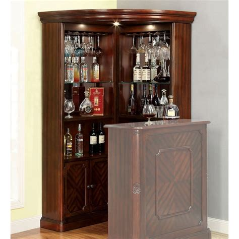 Corner Bar Furniture For The Home by Furniture Of America Myron Traditional Corner Home Bar In