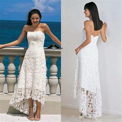Discount Vintage Hi Lo Wedding Dress Lace Strapless A Line Short Front Long Back Ivory Beach