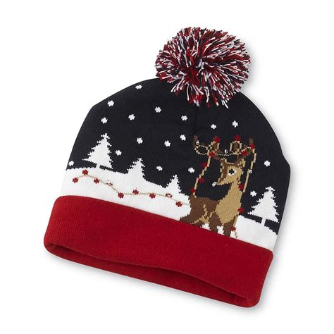 christmas holiday pom beanie led light up hat junior