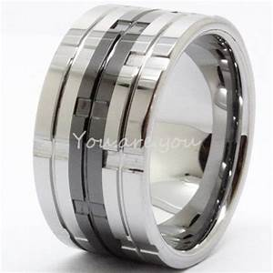 NEW 12mm Mens Black Tungsten Carbide Wheel Groove Style