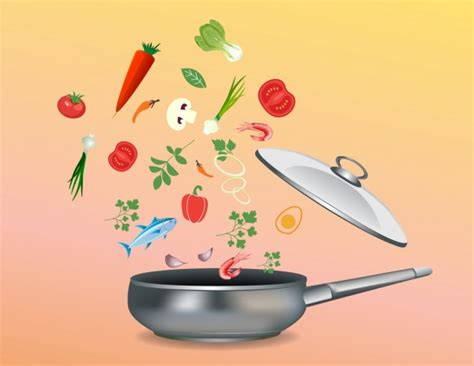 cooking background various ingredients pan icons falling decor free vector in adobe illustrator