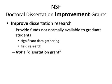 Doctoral Dissertation Improvement Nsf by Ppt Nsf Doctoral Dissertation Improvement Grants