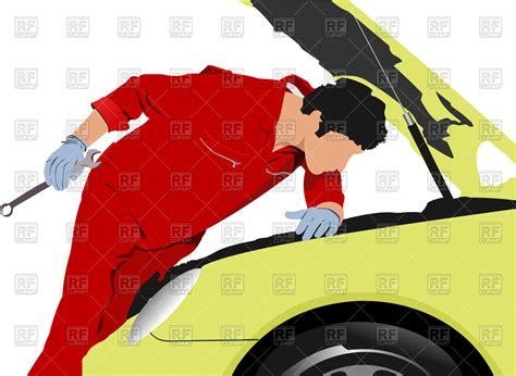 Silhouette Of Auto Mechanic Repairing Car Vector Image