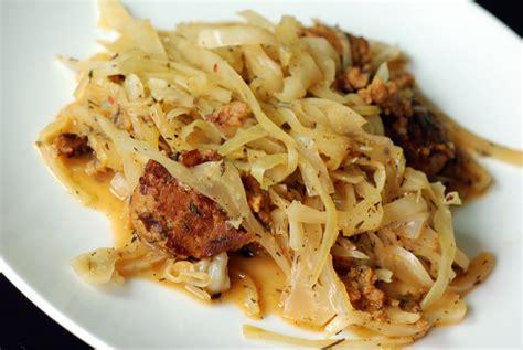 braised cabbage braised cabbage with chorizo seitan sausage the taste space