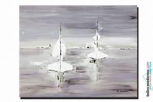 Grand Tableau Blanc : tableau gris voyage en mer grand format rectangle ~ Teatrodelosmanantiales.com Idées de Décoration