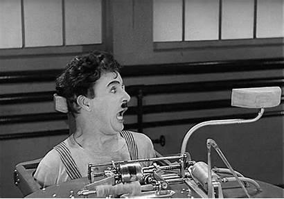 Chaplin Charlie Machine Strapped Rube Gets Goldberg