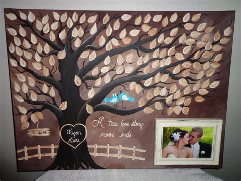 wedding guestbook thumbprint tree canvas with
