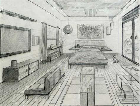 point perspective fancy bed room drafting  design