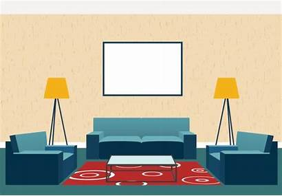 Living Animated Vector Clip Interior Sofa Illustrations