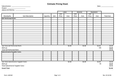 estimate pricing sheet subcontractor