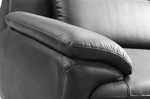 canape 3 places en cuir italien rimini noir mobilier prive With canape cuir vente privee