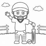 Cricket Coloring Playing Boy Park Pages Print Colouring Printable Cute Illustration Vector Preview sketch template