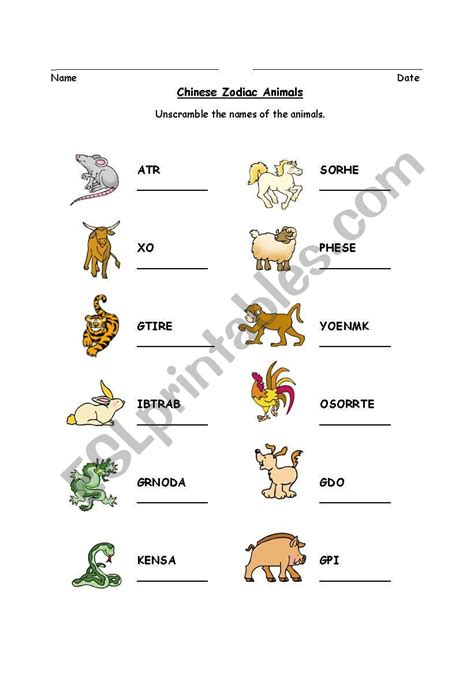 english worksheets chinese zodiac animal word scramble