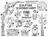 Hunt Scavenger Coloring Sculpture Printable Getcolorings sketch template