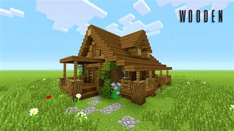 minecraft   build wooden house rustic youtube