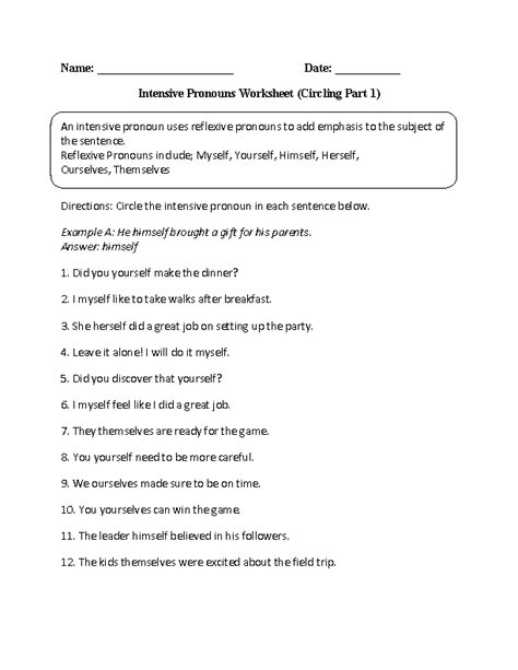 Intensive Pronouns Worksheet Circling Part 1 Intermediate  Pronoun Fun Pinterest