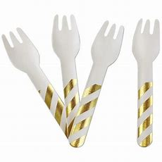 Biodegradable Paper Cutlery Utensil Metallic Striped Gold