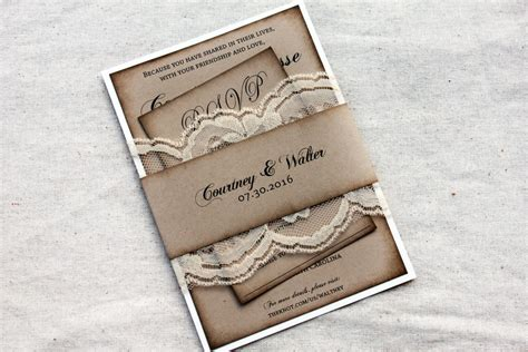Set of 100 Lace Wedding Invitations Rustic Barn Heart
