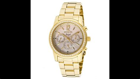 invicta  womens angel crystal accent bezel mop dial