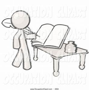 Clip Art of a Greyscale Man Writing a Book Using an Old ...