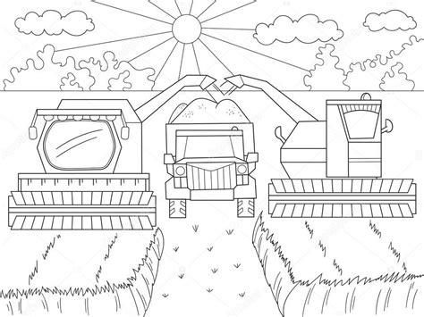 Kleurplaat Machines Landbouw by Tekenfilm Coloring Boek Voor Kinderen Herfst Oogst