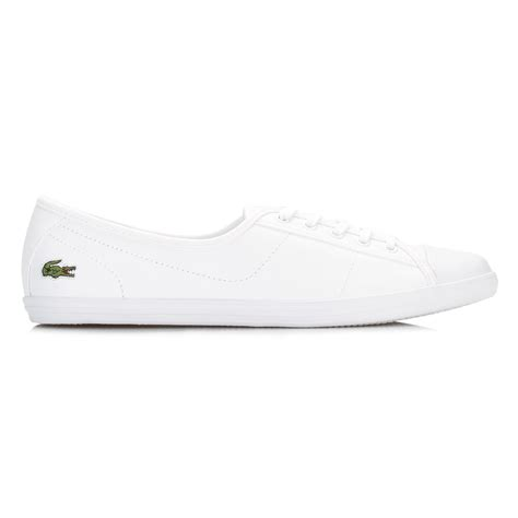 genuine leather lace up sneakers lacoste womens trainers white ziane bl 1 spw leather lace