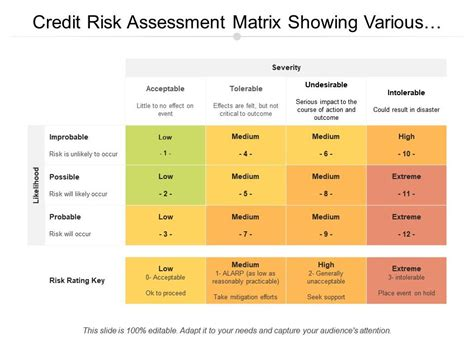 It involves a systematic examination of a workplace to identify risk assessment templates may vary widely depending on factors such as the nature of operations, its size, and in some cases, specifications set. Credit Risk Assessment Matrix Showing Various Risks | PowerPoint Slide Template | Presentation ...
