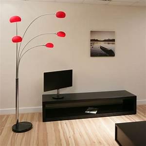 Modern floor standard lamp light lighting red glass new for Red 5 light floor lamp
