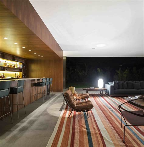 A Fabulous Fortress In Brazil by Marcio Kogan S Casa Concrete House Bar Living Wood