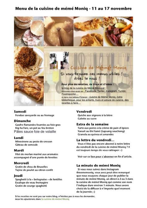 la cuisine 17 menus du 11 au 17 novembre dans la cuisine de mémé moniq