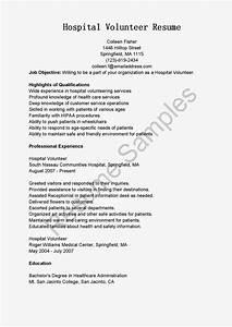 Resume Samples  Hospital Volunteer Resume Sample