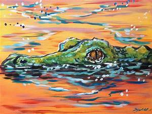 Sunset Gator Abstract Swamp Colorful Alligator by ...