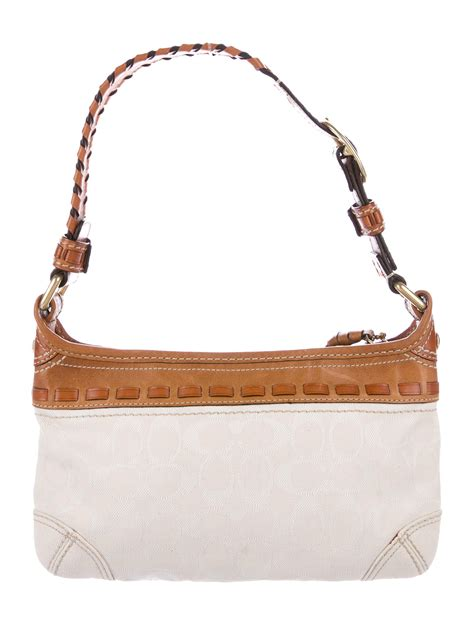 coach leather trimmed monogram bag handbags cch
