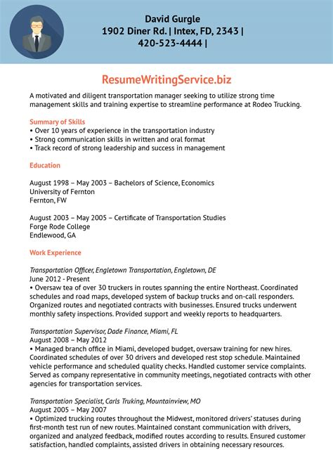 supervisory transportation security officer resume transport facility supervisor resume sle resume writing service