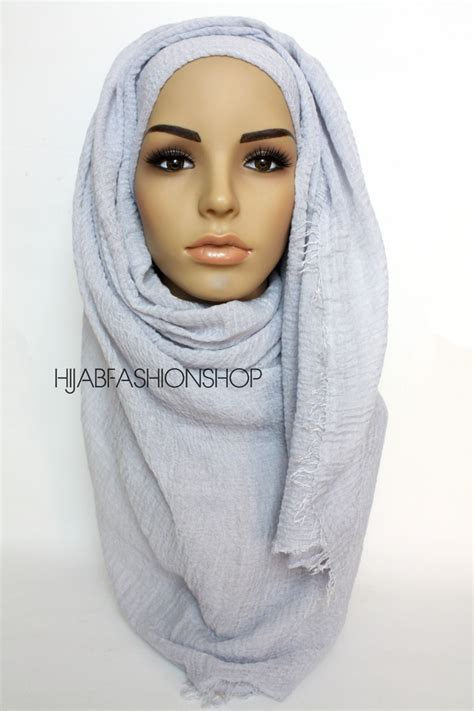 plain hijab ripped crinkled hijab cool grey maxi