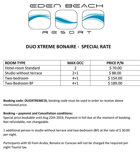 duo xtreme bonaire special rate