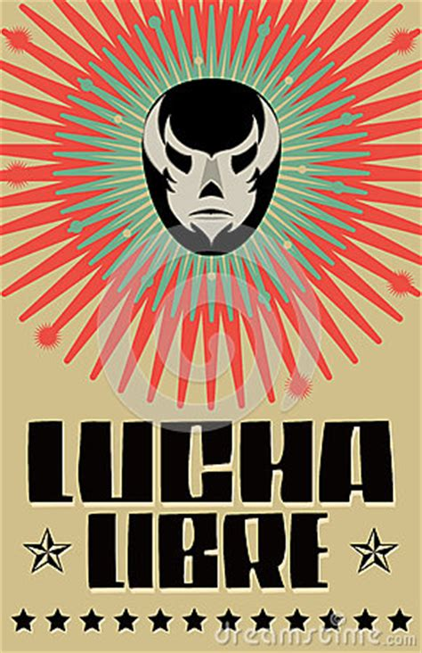 lucha libre wrestling spanish text royalty  stock