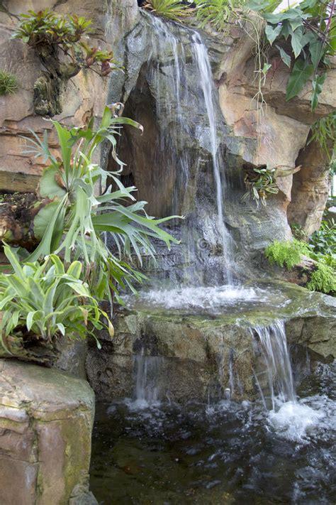 nice indoor garden  waterfall design stock photo